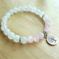 8mm Rose Quartz Beads Handmade Mala Bracelet Bangle Spirituality Religious Retro
