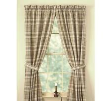 Country Thyme Lined Panel Curtains 72WX84L Burgundy Green Tan Ivory Plaid Cotton