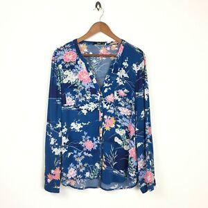 Oasis 16 42 Blouse Shirt Top Blue Floral Botanical Longsleeve Womens Zoom Work