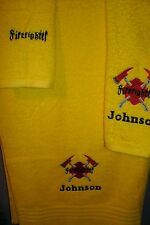 Firefighter Fireman Ax  Personalized 3 Piece Bath Towel Set  Any Color