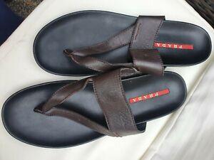 Mens Dark Brown Leather Prada Sandals (Genuine) - Size 11