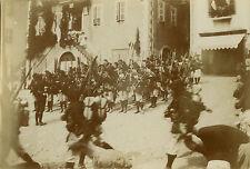 PHOTO ANCIENNE - VINTAGE SNAPSHOT - MILITAIRE CHASSEUR ALPIN FANFARE MUSIQUE