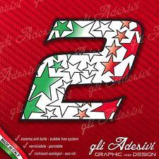 Adesivo Stickers NUMERO 2 moto auto cross STAR Verde Bianco Rosso Tricolore 5 cm