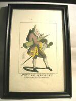 "Vintage Facsimile Framed ""Macaroni"" Print -""The Mon r Le Medicin"""