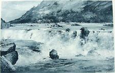 BRITISH COLUMBIA PITT RIVER WHITEWATER RAPIDS ~ Antique 1888 Landscape Art Print