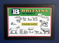 Britains Toy Models 1962 Vintage Farm Animals Framed A4 Size Poster Shop Sign