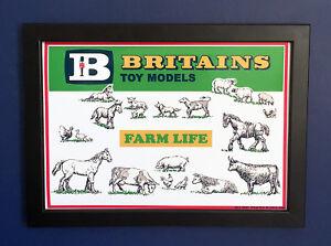 Britains Toy Models 1962 Vintage Farm Animals Framed A4 Size Poster Shop Sign
