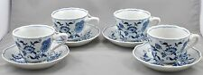 4 Blue Danube Japan Cups Saucers Blue Onion Pattern Rectangle Mark