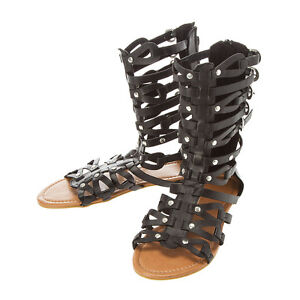 Junior's Women's Black Gladiator Sandals Sasha Black Studded Gladiator Sandals 7