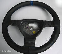 FITS FORD TRANSIT MK7 BLACK PERFORATED LEATHER + BLUE STRAP STEERING WHEEL COVER
