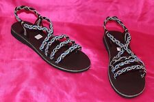 Multicoloured ropes  ladies flat  summer sandals  shoes size 4