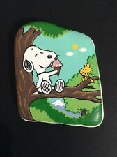 Hand painted river rock art stone painting Snoopy Woodstock ice cream