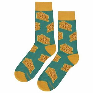 NWT Cheese Dress Socks Novelty Men 8-12 Yellow Fun Sockfly