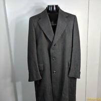 HART SHAFFNER MARX Long Wool Coat Overcoat Mens Size LT L tall gray herringbone