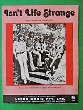 ISN'T LIFE STRANGE vintage Australian sheet music recorded by THE MOODY BLUES