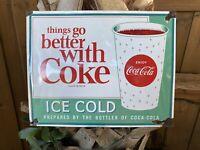 VINTAGE ENJOY COCA-COLA PORCELAIN SIGN USA ICE COLD COKE SODA POP GAS STATION