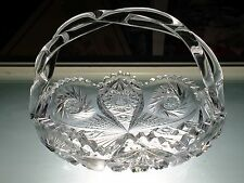 HTF Brilliant Period Cut Crystal Twist Handle Basket ABP Union Glass Dave Walsh