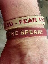 "Florida State Seminoles Wristbands Bracelet NCAA ""FSU-Fear The Spear!"" Set Of 2"