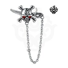 Silver stud red crystal stainless steel skull sword pirate single earring