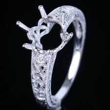 10K White Gold Oval 10X8mm Vintage Filigree Semi Mount Engagement Diamonds Ring