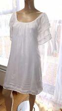 AD ladies designsix London light white tunic dress rayon L cap sleeve summer hol