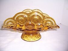 Vintage L E Smith Moon & Stars Banana Boat Bowl Footed Center Piece Amber