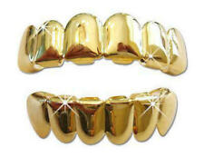 Hip Hop 14k Gold Plated Custom Top & Bottom Fit Mouth Teeth Grillz Set