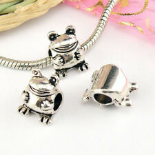 3Pcs Tibetan Silver 5mm-Hole,Frog Spacer Beads Fit Charm Bracelet A5258