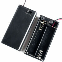 AA Battery Holder 2-AA Cells Case Box With Wire Leads & Cover & Switch 2pcs