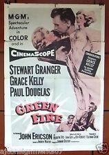 "GREEN FIRE {Grace Kelly} 41 x 27"" Original U.S. 1st Movie Poster 50s"