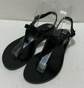 SALVATORE FERRAGAMO My Black Slingback Leather Thong Sandals Sz 5.5M EU36 UK3