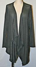 EDDIE BAUER OPEN FACE DRAPE CARDIGAN SWEATER COTTON Duster GRAY WRAP XL