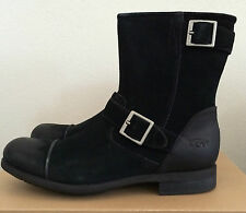 UGG Mens Size 10 Lancing Black Distressed Suede Motorcycle Style Boots 1005714