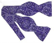 Purple Bandana Bow Tie / Dark Purple / Cowboy Western Bandana / Self-tie Bow Tie