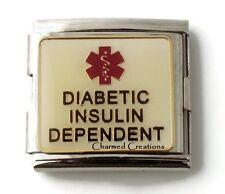 Diabetic Insulin Dependant Medical Alert 9mm Italian Charm 18mm Mega Link