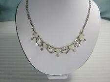 Peru Hearts Necklace 5 White Quartz Hearts 17 ins  Nickel Silver New