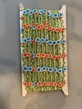 Vintage Novelty Ribbon With Pink /Blue Flowers 10 Yards