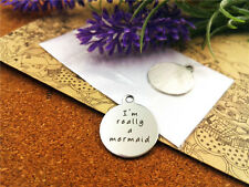 I'm really a mermaid Charm Antique Silver Message Metal Sea DIY Pendant ONE PC