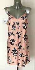 M&S Sleep Sizes 10 14 Pink Floral Short Satin Strappy Nightie Nightdress Bnwt