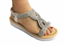 1cfeb08f511 WOMENS LADIES PLATFORM LOW HEEL WEDGE DIAMANTE T BAR SLINGBACK SANDALS  SIZES 3-8