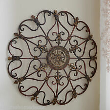 Round Wrought Iron Wall DECOR Scroll Fleur De Lis Antique Vintage Decor