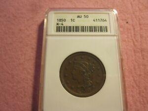 1850 Braided Hair Large Cent N-4 ANACS Graded AU50 (1C)