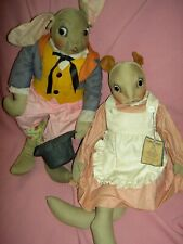 "Pair 1943 cloth, Georgene Averill, ""Uncle Wiggily"" & ""Nurse Jane"", Tagged dolls"