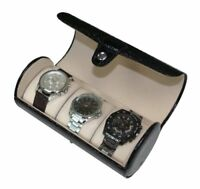 3 WATCH BLACK PATENT CROC ROLL TRAVEL COLLECTOR ORGANIZER STORAGE CASE GIFT