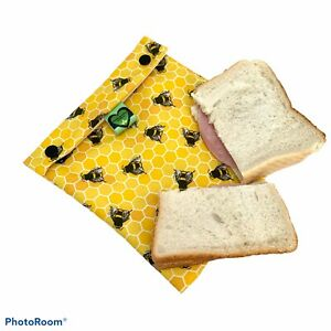 Reusable Sandwich Bag, Bee Print Sandwich Wrap, Eco Friendly Lunch Bag