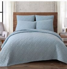 Brooklyn Loom Lincoln 3-Piece King Quilt Set in Stone Washed Blue