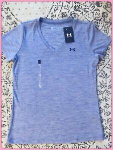 UNDER ARMOUR Women Velocity VNeck Short Sleeve T-Shirt Dk Purple Quick Dry M $22