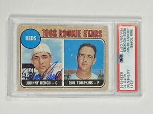 1968 Topps JOHNNY BENCH #247 RC Signed Autograph PSA/DNA 10 Auto