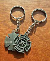 Fireman Key chain | Personalized Firefighter Keychain | Maltese Cross | Pewter