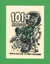 "VINTAGE ORIGINAL 1966 ED ROTH ""101ST AIRBORNE"" ARMY PARATROOPERS WATER DECAL ART"